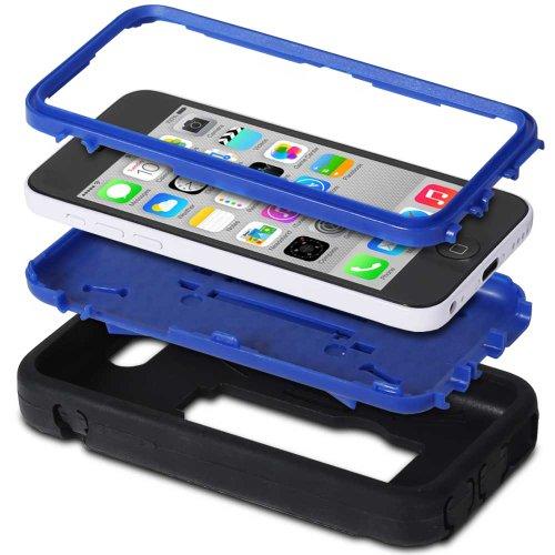 Fosmon HYBO-DT Abnehmbar Hybride Silicone + PC Case Cover hülle mit Stund für iPhone 5c - Schwarz / Rosa blau