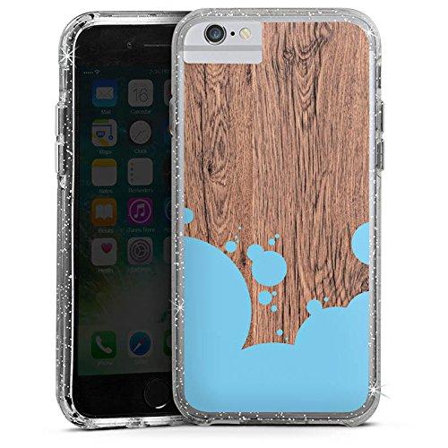 Apple iPhone 8 Bumper Hülle Bumper Case Glitzer Hülle Holz Wood Kleckse Bumper Case Glitzer silber