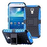ECENCE Handyhülle Schutzhülle Outdoor Case Cover + Panzerfolie kompatibel für Samsung Galaxy S4 Mini I9190 I9195 I9192 Duos Handytasche Blau 43010406