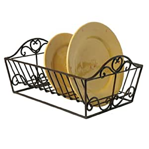 Wrought Iron Heart Plate Dish Drainer Rack 37 X 29 X 19cm