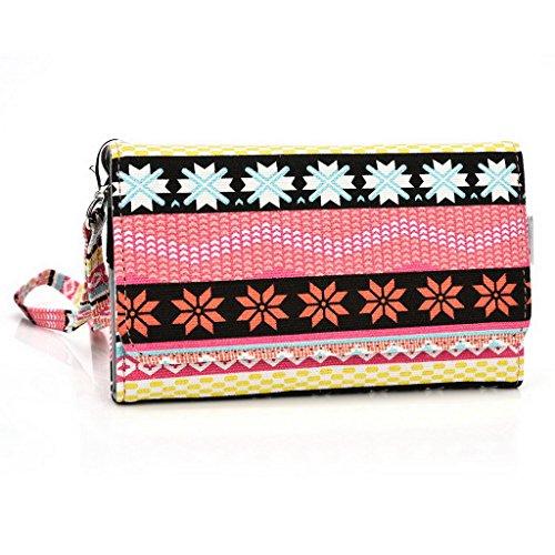 Kroo Téléphone portable Dragonne de transport étui avec porte-cartes pour Allview Impera S/X2Soul Multicolore - noir Multicolore - rose