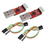 IZOKEE CP2102 USB zu TTL 5PIN Seriell Konverter Adapter Modul Downloader 3,3 V und 5 V für UART STC mit Jumper Kabel (2 Stück)