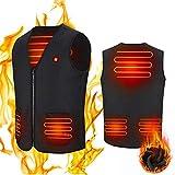Volwco Chaleco Calefactable Eléctrico Chaleco Calentador Térmico Eléctrico Hombre Temperatura Lavable Ajustable USB Chaleco térmico para Moto de Invierno Moto de Nieve Ciclismo Caza Golf