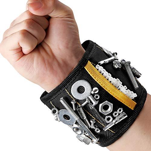 MYCARBON Bracciale Magnetico fai da te Wristband Magnetico 10 Magneti Forti Fascia da Polso Porta Utensili da Lavoro(Nero)