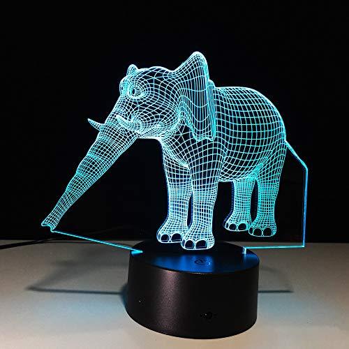 d Nachtlicht/Touch Led Lampe De Table / 7 Farben Auto Ändern/Halloween Geschenk/Netter kleiner Elefant ()