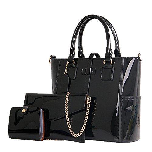 Business-Patent-Leder-Satchel-Ton-Handtaschen-Frauen-Umhängetaschen 3 PC,Black-M (Satchel Patent Handtasche)