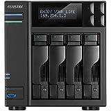 Asustor AS7004T 4-Bay NAS System (Intel Core i3 3.5 GHz Dual-Core, 2GB RAM (upgradefähig bis 16 GB) Gigabit-LAN, USB 3.0, USB 2.0, eSata, HDMI 1.4a, HotSwap, LCD-Statusdisplay, Raid 0, 1, 5, 6, 10)
