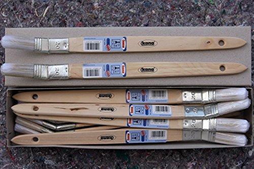 12 Plattpinsel gekröpft 20 mm Poly-Mix für wasserverdünnbare Beschichtungen mit Lack Lasur Lackier Acryl Pinsel (Poly-beschichtung)