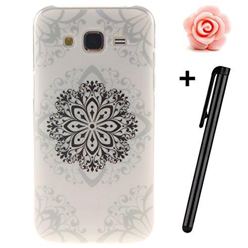 Custodia per Samsung Galaxy A32015, in morbido TPU, ultra sottile, trasparente, flessibile, SM-A300, TOYYM, colorata con disegno stampato, protettiva, motivo: fiore, con penna antipolvere Mandela