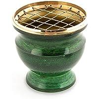 Räucherschale Räuchergefäß mit Netz Ø 8 cm x 7,5 cm aus Messing emailliert grün, Netzgefäß für Räucherkohle Räucherkegel... preisvergleich bei billige-tabletten.eu