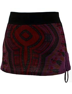 GURU-SHOP Minifalda, Dashiki Yogarock, Púrpura, Algodón, Tamaño:36, Faldas Cortas