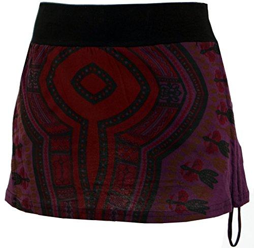 Guru-Shop Minirock, Dashiki Yogarock, Damen, Plum, Baumwolle, Size:36, Kurze Röcke Alternative Bekleidung