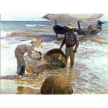 POSTERLOUNGE Alu Dibond 130 x 100 cm: Valencian Fishermen de Joaquin Sorolla y Bastida/akg-Images