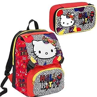 Mochila Seven Schoolpack Hello Kitty Googly con Estuche Completo Cartoleria VARZI 1956