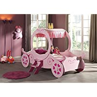 New Artisan Pink Princess Carriage 3ft Single Childrens Bed Ideal for a Little Girl Princesses - Kids Novelty Bed a Unique Piece of Childrens Furniture
