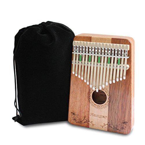 D DOLITY Kalimba 17 Schlüssel Daumenklavier Spielzeug Afrikanischen Musikinstrument mit Tuning-Tool und Tasche
