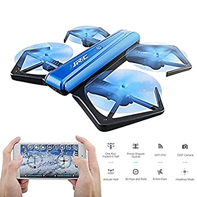 JJRC H43WH Blue Foldable Drone with WiFi FPV Drone,Altitude Hold, Headless Mode,with 720P HD Camera - Gravity Sense Control