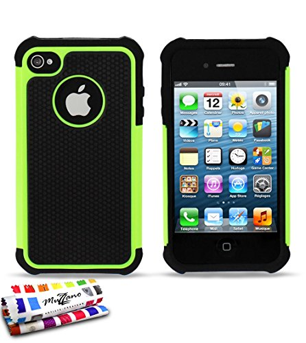"Coque Semi-Rigide Ultra-Slim APPLE IPHONE 4S [La Sport Case Premium] [Violet] de MUZZANO + 3 Films de protection écran ""UltraClear"" + STYLET et CHIFFON MUZZANO® OFFERTS - La Protection Antichoc ULTIME Vert"