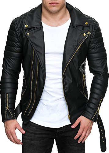 Reichstadt Herren Jacke - RS001 Black PU - Gold Zipper XS -