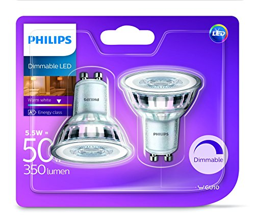 2-x-philips-led-glass-50w-a-gu10-dimmable-spot-light-bulb-lamp-350lm-warm-white
