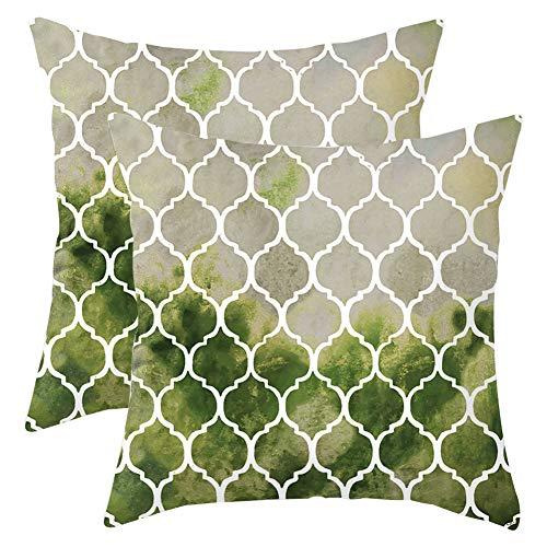 Grünes Dekokissen (JOTOM 2er Set Kissenbezug Super Weich Dekokissen Kissenbezug Kissenbezüge Bunte Geometrische Gitterkette für Haus Zimmer Auto Deko (Grüne Olive))