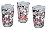 3 Stück - Trinkgläser Monster High für Mädchen incl. Namen - Glas Becher Trinkbecher Saftglas - Kind für Kinder Puppen Saftgläser / Frankie Stein Draculaura Clawdeen Wolf