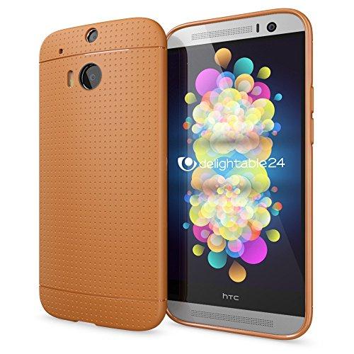 NALIA Handyhülle für HTC One M8 M8S, Ultra-Slim Case Cover, Dünne Punkte Schutzhülle, Etui Handy-Tasche Back-Cover Bumper, TPU Silikon-Hülle für HTC One M8S M8 Smart-Phone - Mesh Orange