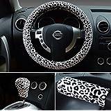 """Conjunto 3 en 1 Tres leopardo en color Fluff Plush Auto Belleza Volante cubierta 15 Invierno """"(blanco)"""