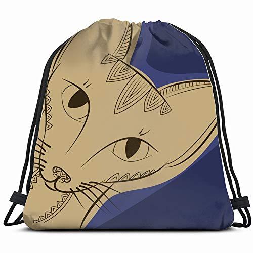 Desing shop Doodle Zen cat Head Animals Wildlife Gym Sack Bag Drawstring Sport Beach Travel Outdoor Backpack for Women 17X14 Inch