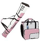 Brubaker Conjunto de Bolsa de esquí y Bolsa de Botas de esquí para 1 par de esquís de hasta 170 cm + Bastones + Botas + Casco Rosa, Blanco