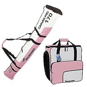 BRUBAKER Kombi Set Skisack und Skischuhtasche für 1 Paar Ski bis 170 cm + Stöcke + Schuhe + Helm Rosa Weiß