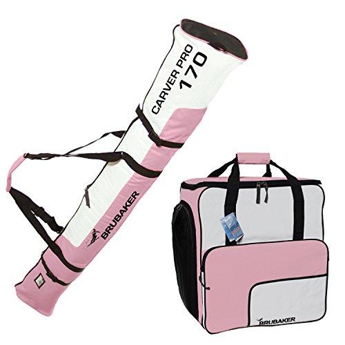 Brubaker Set Sac de Ski et Sac à Chaussures de Ski pour 1 Paire de Ski jusqu'à 170 cm + bâtons + Chaussures + Casque Rose/Blanc