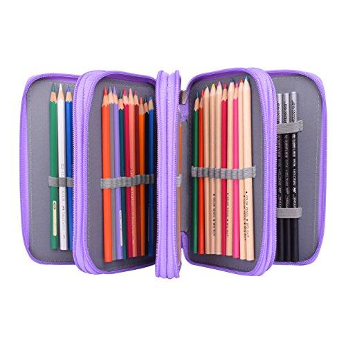 Newcomdigi astuccio per 72 matite portapenne astuccio scuola elementari super grande 4 strati porta matite sacchetto borsa trucco (senza matita) - viola
