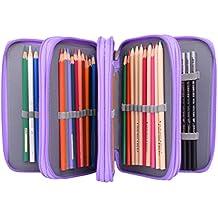 Newcomdigi Estuche Bolso Caja de Lapices Colores 72 Ranuras Portálapices Organizador de Alta Capacidad para Lapices de Colorear Dibujo Acuarela Arte Oficina y Maquillaje Coméstico Violeta