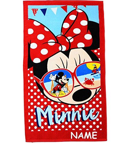 alles-meine.de GmbH Badetuch / Strandtuch -  Disney Minnie Mouse - Sonnenbrille  - incl. Name - 70 cm * 140 cm - Frottee / Velours - 100 % Baumwolle - Handtuch - Mädchen & Jung..