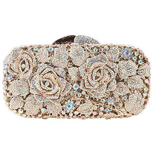 Bonjanvye Glitter Floral Clutch Purse for Girls Crystal Rhinestone Handbag AB Gold Crystal Messer