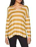 ONLY Damen Onlmaye L/S Stripe Vneck Pullover CC KNT, Mehrfarbig (Hazelnut Stripes: Melange W. Golden Yellow), 40 (Herstellergröße: L)