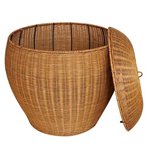 ZHAOSHUNLI Panier à linge Panier à linge panier de rangement rotin de bambou grand jardin couvert vêtements créatifs poignée de rangement de jouets (Couleur : Le jaune)