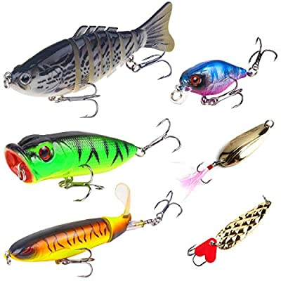 AISPARKY 6 Pieces Fishing Lures Bass Lures set, Pike lures with Floating Rotating Tail Barb Treble Hooks Multi Jointed Swimbaits Slow Sinking Hard Lure Fishing Tackle Kits Lifelike