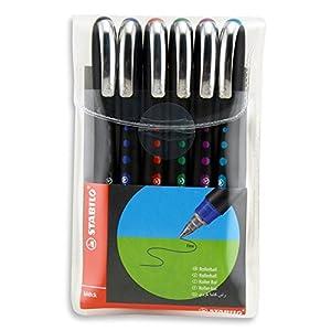 Roller tinta líquida STABILO Bl@ck – Estuche con 6 colores