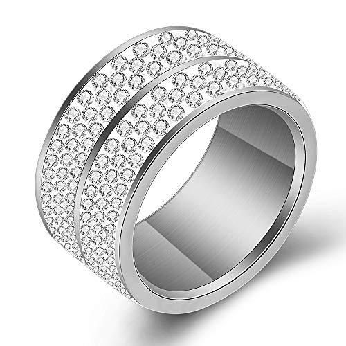 VQYSKO 12mm Ring Frauen Edelstahl Glänzende 6 Reihen Strasssteine Ringe für Mädchen HochzeitRing und Geschenk Box Größen (Silber, 52 (16.6)) - Sechs Ringe