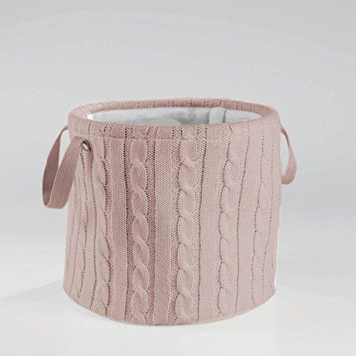 Aufbewahrungskorb Korb Strick Rund Grau, Rosa oder Weiss, Farbe:Rosa