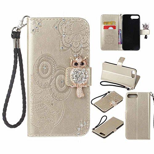 iPhone 7 Plus Custodia, COOSTOREEU 3D Glitter Gufo e Mandala Embossing Premium PU Custodia in Pelle Card Slot Magnetica Portafoglio Flip per Apple iPhone 7 Plus,Dorato Dorato