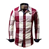 VEMOW Herbst Winter Frühling Herren Karo Hemd Langarm Nicht-Eisen Business Casual Tagesbluse Bluse Formal Ocasion Baumwolle Slim Fit Plaid Top(Rot, EU-54/CN-XL)