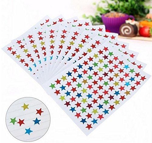 Glänzende Sterne Sticker für Kinder & Kalender zum markieren von Ereignissen , 10 Blatt Bunte Sterne ca. 850 Stück Tagebuchsticker 1cm