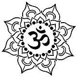 Om Lotus Flower Yoga - [6 inch/15 cm Tall] - Aufkleber von SUPERSTICKI® für Auto,Scheine,Lack,Motorrad,Wandtattoo,Tattoo Sticker, Autoaufkleber für alle glatten Flächen, Aufkleber ohne Hintergrund - Profi-Qualität