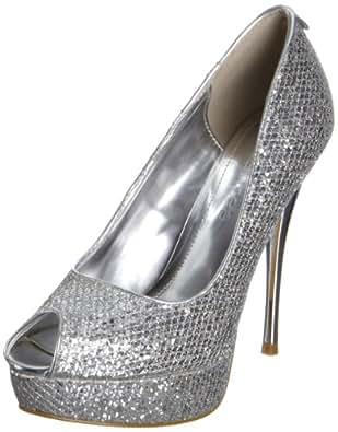 Moda in Pelle Women's Intricate Silver Platforms Heels INTRI04 3 UK