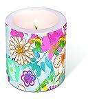 1vela gemalte Flores Diámetro. 9cm/Altura 10cm, se envía en pantalla transparente