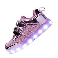 DoGeek Boys Girls Light up Trainers Big Kids Unisex 7 Colors Silver LED Lights Up Shoes (37 EU, Glitter Pink)