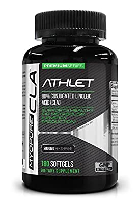 Myo-Pure CLA 2000 mg 180 Softgels - Weight Loss Fat Burner Diet Enzyme Energy Endurance Recovery Conjugated Linoleic Acid by Athlet